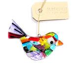 Gekleurde glazen tuinvogel. Glasfusing vogelhanger van gekleurd glas uit eigen atelier!