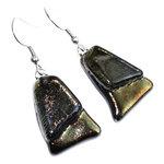 Gouden glazen oorbellen gemaakt van goud-metallic glas!