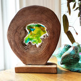 Modern glaskunst object van groene glasfusing in hout. Exclusieve glasfusing decoratie uit eigen atelier.