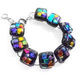 RVS edelstaal armband met glasfusing van zwart glas met kleurrijke accenten!