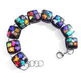 Gekleurde glazen armband van RVS edelstaal met fraaie glazen kunstwerkjes!