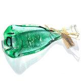 Uniek verjaardagscadeau! Een gesmolten heldere wijnfles met groene accenten in het glas.