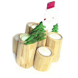 Sneeuwpop waxinelichthouder voor kerst met 7 waxinelichtjes