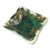 Groen glazen schaaltje voor theezakjes, waxinelichtje of sieraden etc.
