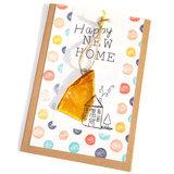 Nieuwe woning wenskaart versturen? Unieke new home kaart met cadeautje van glas.
