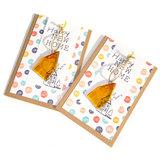 Handgemaakte kaarten met een cadeautje van glasfusing! Nieuw huis wenskaart