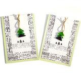Kerstkaart online bestellen? Mintgroene kerst kaarten met glazen kerstboompjes!
