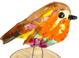 Gekleurde glazen roodborst vogel. Glaskunst decoratie vogel
