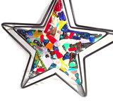 Glazen kerst ster, unieke decoratie van gekleurd glas!