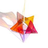 Heldere glazen ster van super mooi gekleurd glas in paars, roze, oranje en amber/geel kleuren!