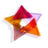 Glazen kerstster van gekleurd glas om op te hangen!