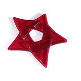 Rode kerstster van helder donkerrood glas