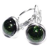 Groene glazen oorbellen van edelstaal met klaphaken