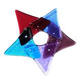 Kerstster decoratie van paars, rood en blauw glas! Glazen kerstster om op te hangen.