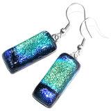"""Lange glazen oorbellen van super mooi groen-blauw-zwart """"regenboog"""" glas!"""