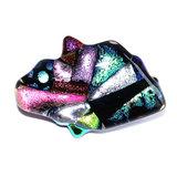 Glazen broche speld van prachtig kleurrijk glas voor op een vest, trui of poncho.