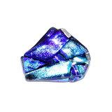 Glazen broche speld van luxe blauw gekleurd glas.