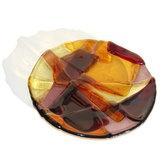 rond glazen schaaltje, 14 cm. van amber, geel en paars glas uit eigen atelier.