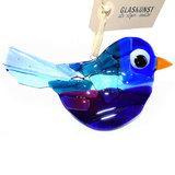 Glazen vogel hanger gemaakt van blauw, roze en paars glas