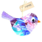 Glazen vogel hanger gemaakt van blauw, roze en paars glas. Exclusieve glaskunst decoratie voor huis en tuin!