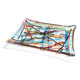 Zeepbakje handgemaakt van helder glas met kleurrijke strepen!