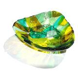 Glazen schaaltje. Glasfusing kommetje van groen en gele glassoorten.