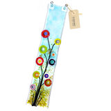 Langwerpige glazen raamhanger met vrolijk gekleurde bloemen! Handgemaakte glazen hanger