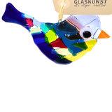 Glazen vogelhanger van gekleurd glas!