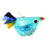 Blauwe vogel handgemaakt van helder glas met oogje om op te hangen