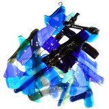 Blauwe hanger van speciaal glas. Glaskunst uit eigen atelier.