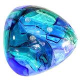 Blauwe glazen schaal. Persoonlijk gesigneerd