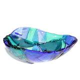 Blauwe glasfusing kom. Schaaltje van helder blauw glas