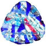 Glazen kommetje van helder glas met blauw, roze en grijze kleuren.