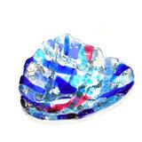Glazen schaaltje van blauw, roze en zilver-grijs glas. Uniek handgemaakte kom
