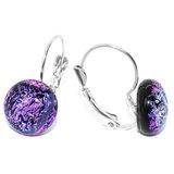 Klaphaak oorbellen van speciaal paars-roze glas