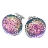 Roze oorstekers handgemaakt van prachtig roze gekleurd glas!