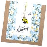 Bee Happy Wenskaart met een glazen bij. Wenskaart met glas hanger