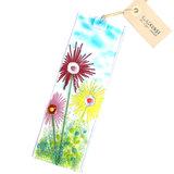 Glazen raamhanger van helder glas met kleurrijke bloemen!