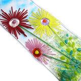 Bloemen Asters in glas, raamhanger decoratie van glas