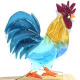 Glasfusing haan van blauw en ambergeel helder glas in een houten standaard!