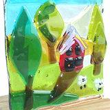 Glaskunst object, gekleurd landschap van helder glas