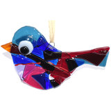 Glazen vogel hanger, gemaakt van het mooiste blauw, rood en paarse glas!