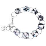 Zilveren glazen armband van RVS/edelstaal met luxe zilverkleurige glazen cabochons.