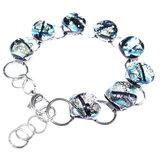 Zilveren glazen armband van RVS/edelstaal met luxe zilverkleurige glaskunst