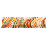 Oranje-bruin-turquoise glazen schaal. Afm. 43 x 11 cm. Glasfusing design schaal