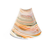 """Lange """"boot"""" schaal van kleurrijk oranje-bruin-turquoise swirl glas! Fantastische schaal voor appels of stokbrood"""