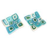 Set van 2 kleine glazen schaaltjes. Handgemaakt van wit, ivoorwit en blauw glas.
