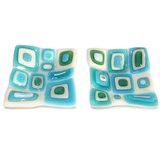Set van 2 kleine vierkante schaaltjes. Glazen schaaltjes handgemaakt van wit, blauw en turquoise glas.