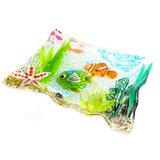 Fraaie gewelfde rechthoekige schaal handgemaakt van gekleurd glas met vissen.