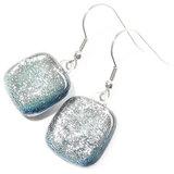 Handgemaakte zilveren glazen oorbellen van speciaal zilver glas!